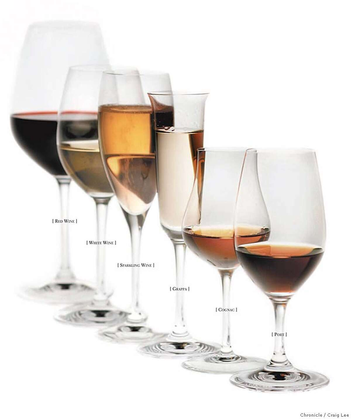 The shape of a wineglass affects the way the wine tastes, in part by concentrating the flavors on different parts of the tongue. Chronicle photo by Craig Lee