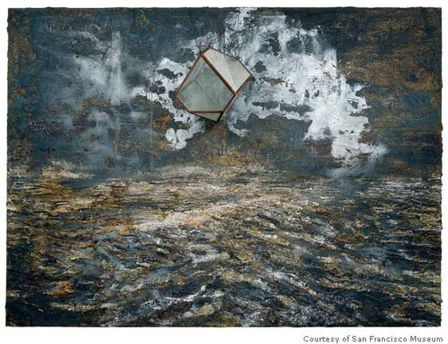 """Melancholia"" (2004) Oil, acrylic, and emulsion on canvas with glass polyhedron by Anselm Kiefer. Credit: Courtesy of San Francisco Museum of Modern Art Photo: Courtesy Of San Francisco Museum"