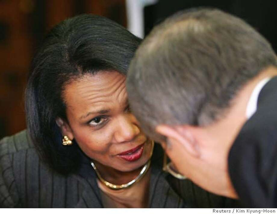 U.S. Secretary of State Condoleezza Rice, left, meets South Korean Foreign Minister Ban Ki-moon in Seoul Thursday, Oct. 19, 2006. Rice arrived in South Korea earlier in the day to press Seoul to support sanctions against North Korea for its nuclear test that rattled the world. (Reuters Photo/Kim Kyung-Hoon, Pool) POOL Photo: KIM KYUNG-HOON