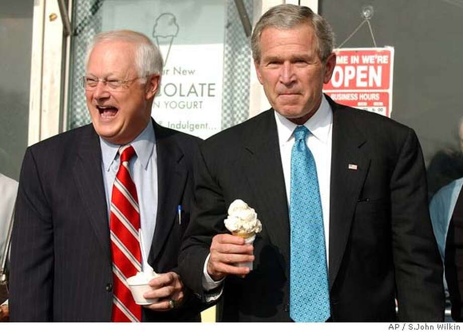 President Bush emerges from an ice cream store in Clark Summit, Pa with U.S. Rep. Don Sherwood, R-Tunkhannock after a campaign fundraiser at Keystone College in La Plume, Pa., Thursday, Oct. 19 2006. (AP Photo/Times Leader, S.John Wilkin) CITIZENS VOICE OUT, SCRANTON TIMES OUT, STANDARD-SPEAKER OUT Photo: S.JOHN WILKIN