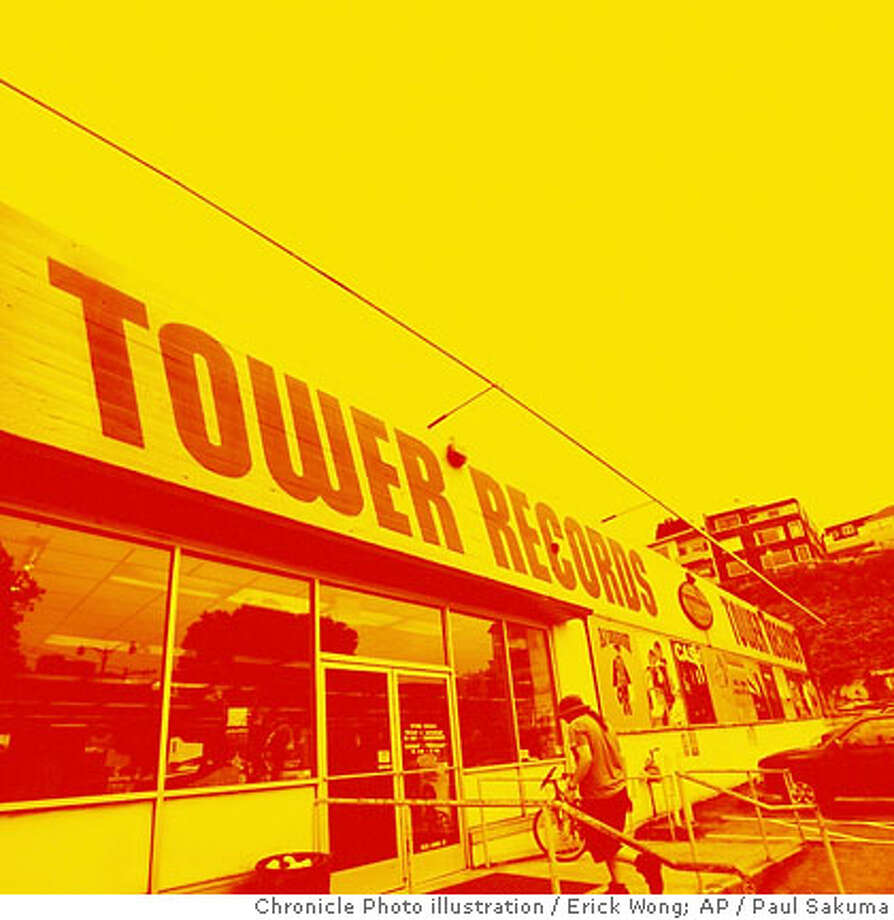 Photo illustration for Tower19 centerpiece on 10/19/06. Photo illustration: Erick Wong / The Chronicle Original Photo: Paul Sakuma / AP An exterior view of a Tower Records store is seen in San Francisco, Friday, Oct. 6, 2006. After a lengthy auction stretching over two days, a federal bankruptcy judge on Friday approved sale of California-based Tower Records to Great American Group, which plans to liquidate the music retailer. (AP Photo/Paul Sakuma)  Ran on: 10-19-2006  Photo caption Photo: Erick Wong