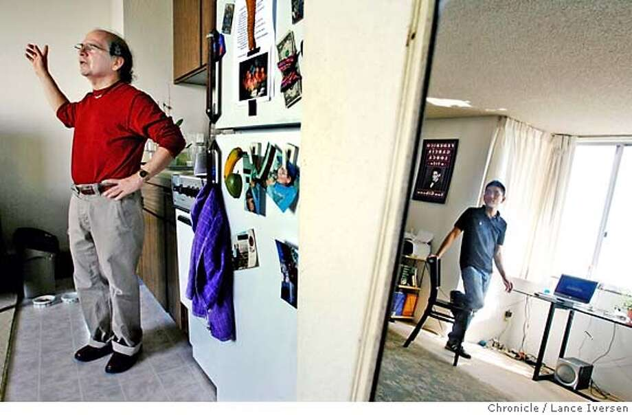 ELDERLY_0471.JPG  L to R Luis Orapeza, chats with his visitor Jimmy Ho who is reflected in a mirror and a volunteer with Friendly Visitor Program. The two are in Orapeza's San Francisco apartment. The first large generation of gay and lesbian adults is entering their golden years and is facing a host of new challenges. Some people are moved into homophobic nursing homes; others are losing their partners and facing crushing financial burdens. For many seniors, whose coming out meant being forsaken by their families (and who were unable to have children like the current generation) many are facing isolation loneliness. A volunteer program for younger gays and lesbians to meet with older members of the community is working to address the problem. OCTOBER 11, 2006 SAN FRANCISCO.By Lance Iversen/San Francisco Chronicle MANDATORY CREDIT PHOTOG AND SAN FRANCISCO CHRONICLE/ MAGS OUT Photo: By Lance Iversen