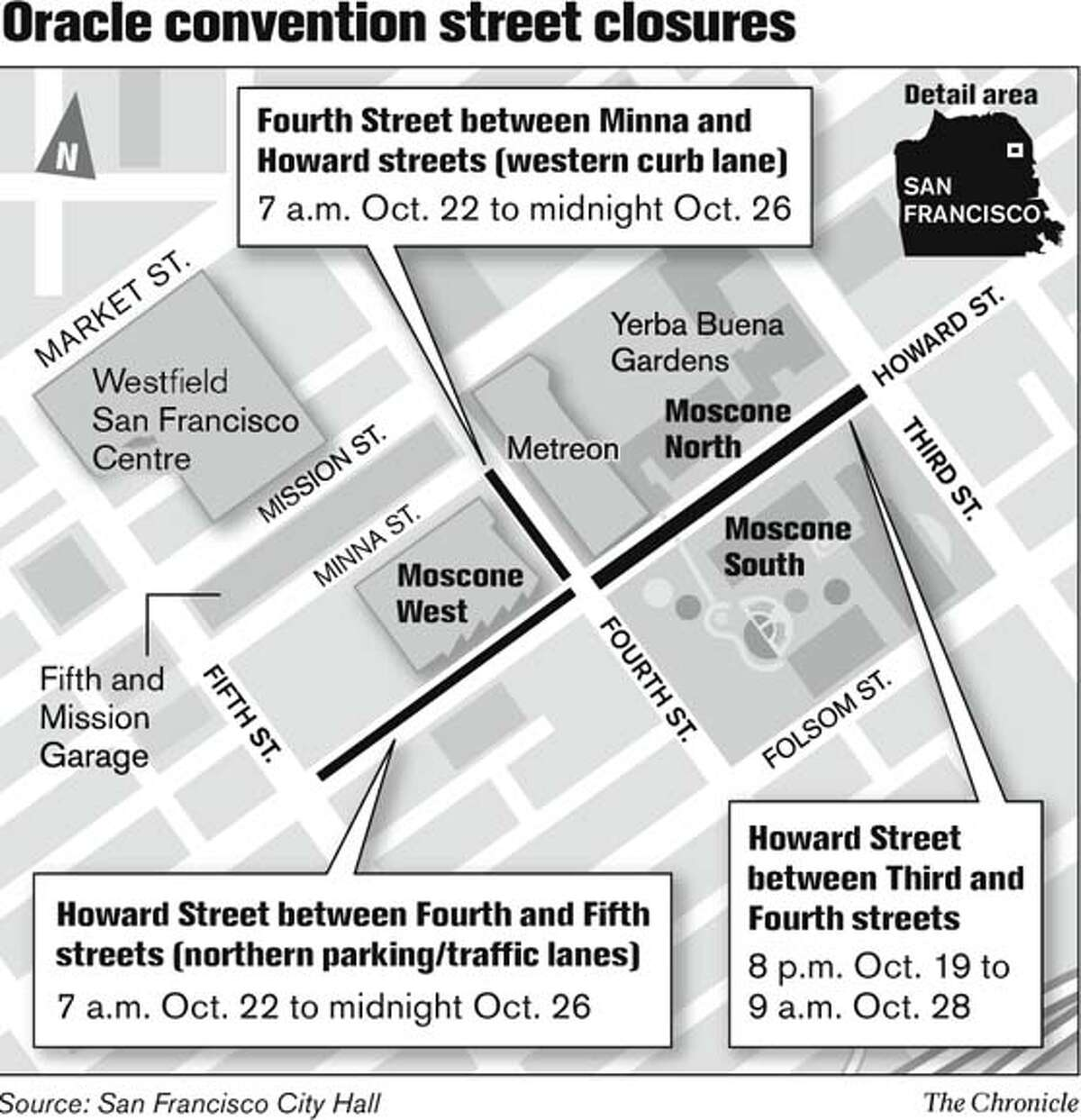 Oracle Convention Street Closures. Chronicle Graphic