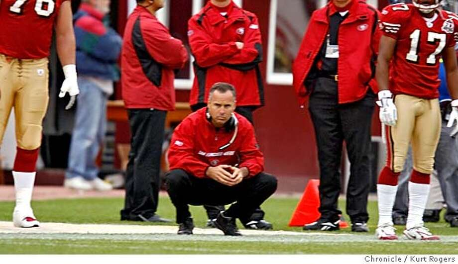 San Francisco 49ers head coach Mike Nolan on the side line watches as the 49ers turn over the ball in the third quarter.  San Francisco 49ers vs the San Diego Chargers.  KURT ROGERS/THE CHRONICLE SAN FRANCISCO THE CHRONICLE  SFC NINERS_0373_kr.jpg MANDATORY CREDIT FOR PHOTOG AND SF CHRONICLE / -MAGS OUT Photo: KURT ROGERS/THE CHRONICLE