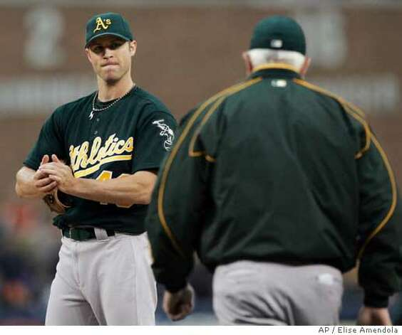 Oakland Athletics manager Ken Macha walks out to the mound to pull starting pitcher Rich Harden during the sixth inning in Game 3 of the American League Championship Series against the Detroit Tigers in Detroit, Friday, Oct. 13, 2006. Harden was relieved by pitcher Chad Gaudin. (AP Photo/Elise Amendola) Photo: Elise Amendola