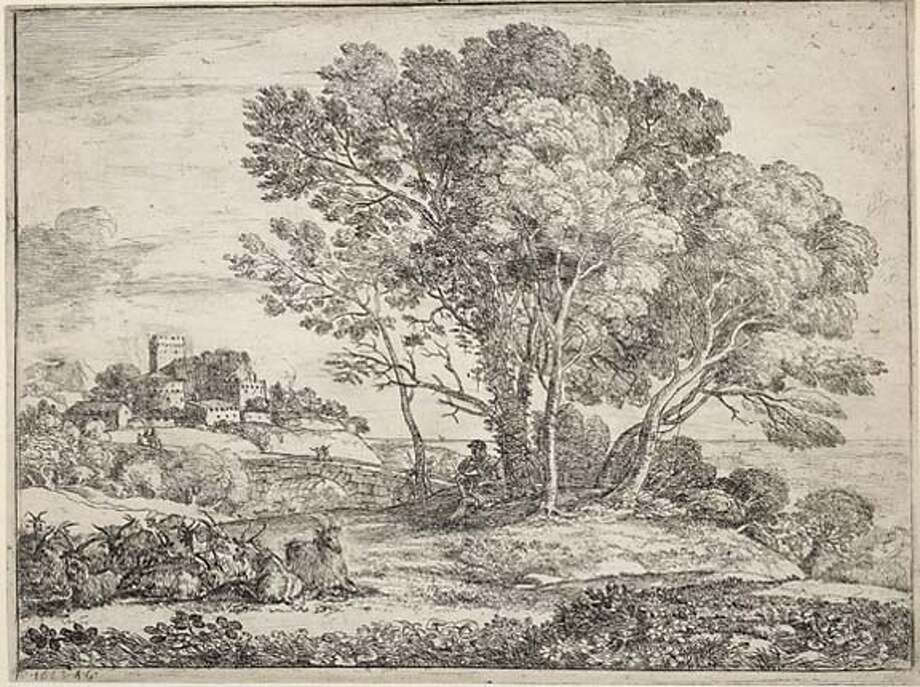2. Claude Lorrain (French, 1600�1682)  Le Chevrier (The goatherd), 1663  Etching on white paper, second state, 170 x 225 mm  The British Museum, UK, 16.89 On view in Claude Lorrain�The Painter as Draftsman: Drawings from the British Museum Legion of Honor, San Francisco  14 October 2006�14 January 2007 Photo: The British Museum,