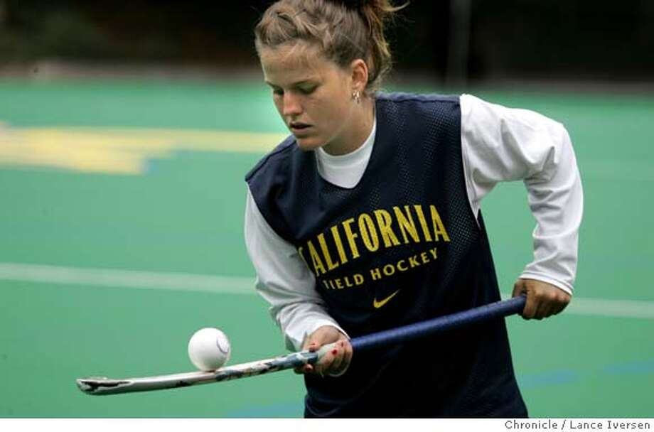 CALFIELDHOCKEY_0536.JPG  Valentina Godfrid from Argentina attending Cal just might be the best field hockey player ever in the Bay Area. Valentina practices with the team at Maxwell Family Field, on the Cal campus. OCTOBER 4, 2006 in BERKELEY.  By Lance Iversen/San Francisco Chronicle MANDATORY CREDIT PHOTOG AND SAN FRANCISCO CHRONICLE/ MAGS OUT Photo: By Lance Iversen