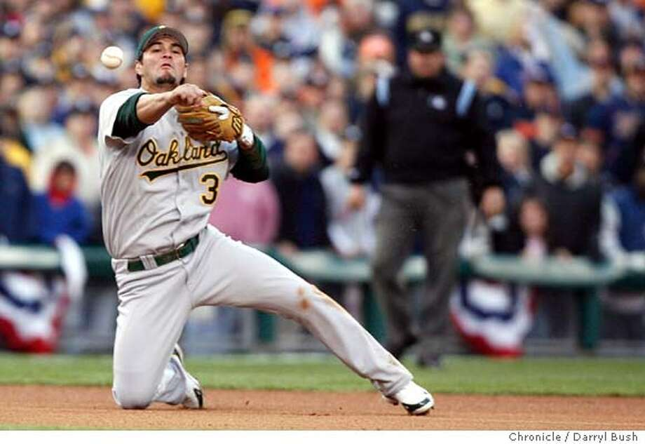 athletics_alcs4_db29 Eric Chavez makes a tough play in the bottom of the sixth inning getting Ivan Rodriguez to ground out. The Oakland Athletics play the Detroit Tigers in Game 4 of the American League Championship Series. Event on Saturday, October 14, 2006 at Comerica Park in Detroit, Michigan. Darryl Bush / The Chronicle Ran on: 10-15-2006  Milton Bradley (right) is congratulated by Jay Payton after scoring the A's second run in the first inning on Eric Chavez's double. Photo: Darryl Bush