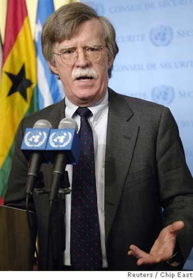 "U.S. Ambassador to the U.N. John Bolton speaks after the U.N. Security Council voted unanimously to impose financial and weapons sanctions on North Korea for its nuclear test, which the resolution called a ""clear threat to international peace and security"", in New York October 14, 2006. REUTERS/Chip East (UNITED STATES) 0 Photo: CHIP EAST"