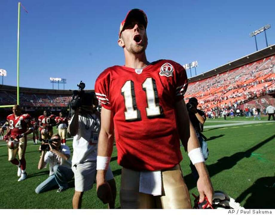 San Francisco 49ers quarterback Alex Smith (11) shouts after the 49ers defeated the Oakland Raiders 34-20 in an NFL football game Sunday, Oct. 8, 2006, in San Francisco. (AP Photo/Paul Sakuma) Photo: PAUL SAKUMA