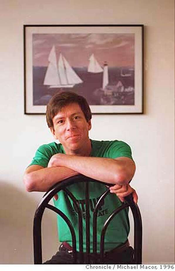 GETTY 2/C/09JAN96/SC/MACOR AIDS Activist Jeff Getty transplant recipient of bone marrow from a baboon, at home trying to get things back to normal. The painting in the background shows his hometown of New London, Connecticut. Chronicle Photo: Michael Macor CAT Photo: MICHAEL MACOR