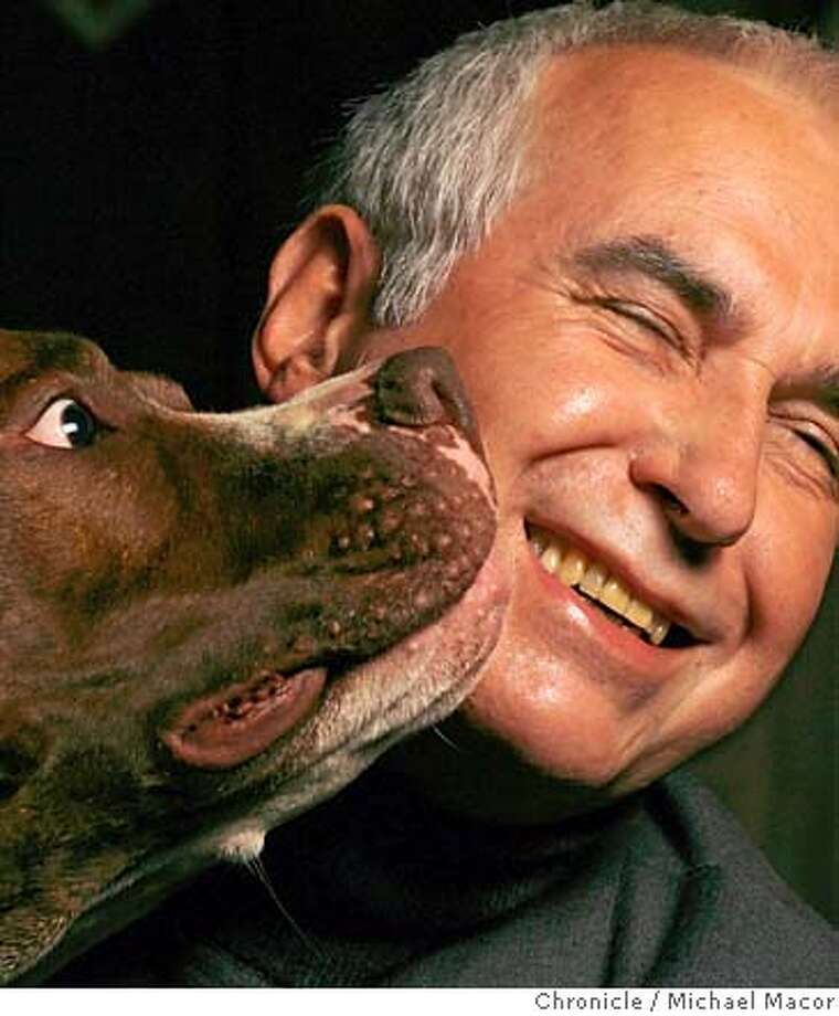 """Dr. Dunbar with his American Bulldog, """"Dune"""" Dr. Ian Dunbar, the man who wrote the book on pet training and the guy who developed the first ever puppy-training courses in the country. Event in, Berkeley, Ca, on 8/16/06. Photo by: Michael Macor / San Francisco Chronicle Photo: Michael Macor"""