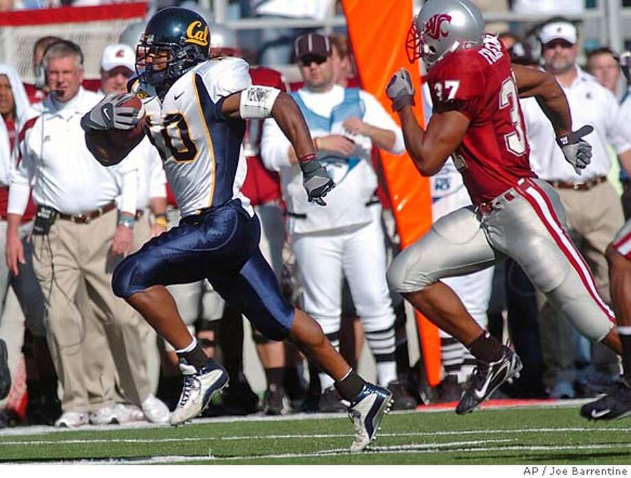 California's Marshawn Lynch out runs Washinton State's Eric Frampton during first quarter college football action in Pullman, Wash., Saturday, Oct. 14, 2006. (AP Photo/Joe Barrentine) Photo: JOE BARRENTINE