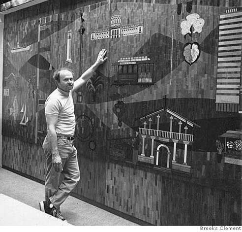 "Photo of Emile Norman in front of his wood inlay mural ""History of San Francisco,"" commissioned by Bank of California, now Union Bank of California. Circa 1964. Photo by Brooks Clement Photo: Brooks Clement"