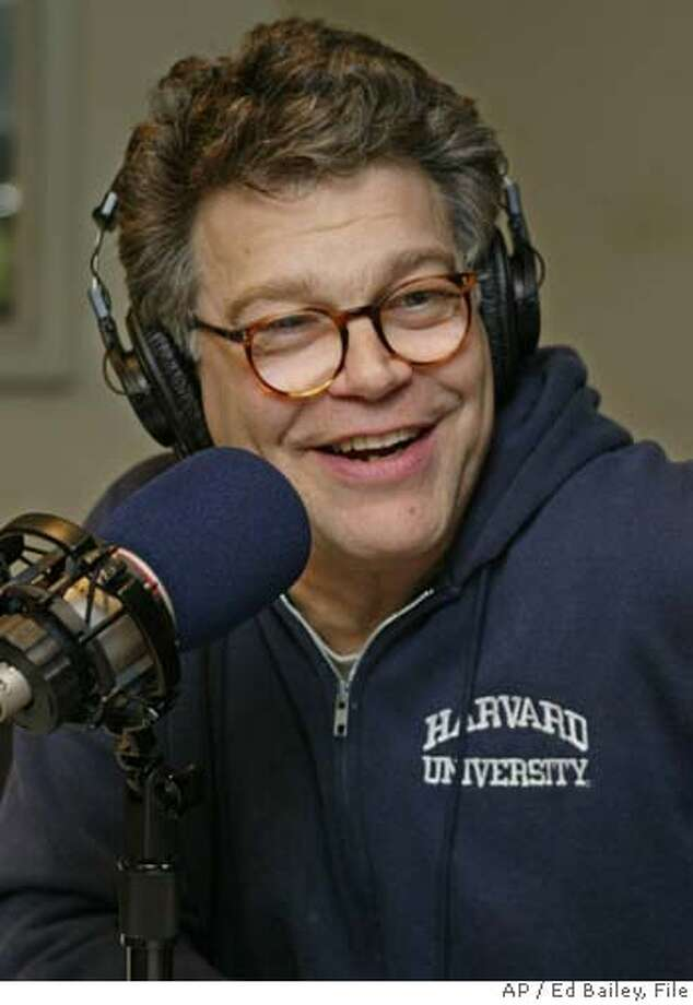 "**FILE**Comedian Al Franken rehearses for his radio show ""The O'Franken Factor"" on March 29, 2004, at Air America studios in New York. Air America Radio, a liberal talk and news radio network, has filed for Chapter 11 bankruptcy protection, a network official told the AP, Friday, Oct. 13, 2006. (AP Photo/Ed Bailey) A MARCH 29 2004 FILE PHOTO Photo: ED BAILEY"