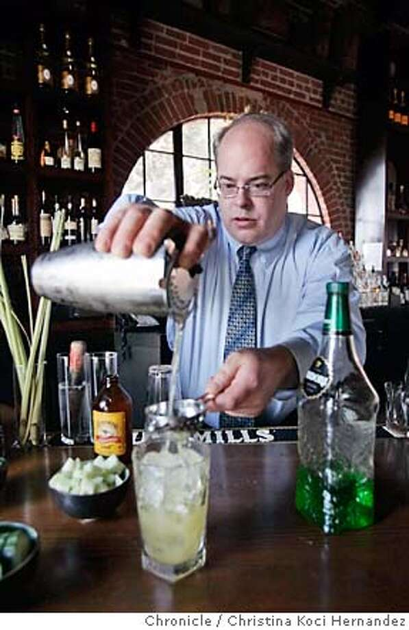 For the Cocktailian column, we need a shot of Ana Mandara beverage manager Bradley Pymale making a Beach Street Fog Cutter cocktail..(CHRISTINA KOCI HERNANDEZ/THE CHRONICLE) Mandatory Credit For Photographer and San Francisco Chronicle/No-Sales-Mags Out Photo: Christina Koci Hernandez
