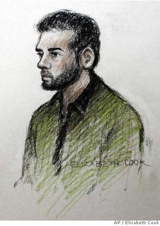 """An artists impression of Dhiren Barot who admitted Thursday, Oct. 12, 2006, that he plotted to murder people in terrorist outrages in Britain and the United States. Briton, Barot pleaded guilty Thursday to conspiring to bomb high-profile targets in the United States including the International Monetary Fund headquarters in Washington and the New York Stock Exchange. """"I plead guilty,"""" Dhiran Barot, 32, said in a clear voice at Woolwich Crown Court in London. Prosecutors said the plot, foiled by Barot's arrest in 2004, involved Britain and the United States. Other alleged targets included the World Bank headquarters in Washington, the Citigroup building in New York and the Prudential building in Newark, New Jersey. (AP Photo/Elizabeth Cook/PA) ** TV OUT UNITED KINGDOM OUT NO ARCHIVE ** TV OUT UNITED KINGDOM OUT NO ARCHIVE PHOTOGRAPH CANNOT BE STORED OR USED FOR MORE THAN 14 DAYS AFTER THE DAY OF TRANSMISSION Photo: ELIZABETH COOK"""