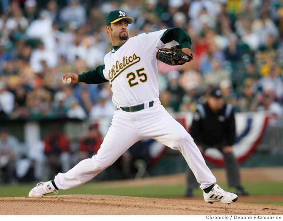 athletics_alcs2_df12 Oakland starting pitcher Esteban Loaiza pitches in the top of the first inning. The Oakland Athletics play the Detroit Tigers in Game 2 of the American League Championship Series. Event on Wednesday, October 11, 2006 at McAfee Coliseum in Oakland, California. Deanne Fitzmaurice / The Chronicle Photo: Deanne Fitzmaurice
