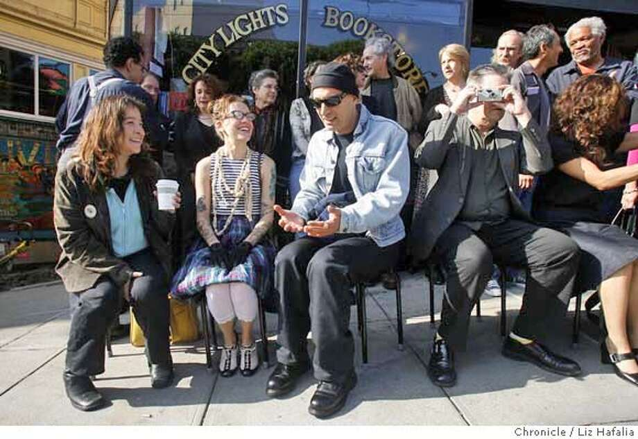 BOOKAWARD12_039.JPG left to right, front--Authors Juliette Torres, Michelle Tea, Peter Plate, and Kevin Killian in front of City Lights Books in the North Beach where 20 finalists for the 2006 National Book Award were being announced.  cq--Juliette Torres, Michelle Tea, Peter Plate, Kevin Killian.  Photographed by Liz Hafalia MANDATORY CREDIT FOR PHOTOGRAPHER AND SAN FRANCISCO CHRONICLE/ -MAGS OUT Photo: Liz Hafalia