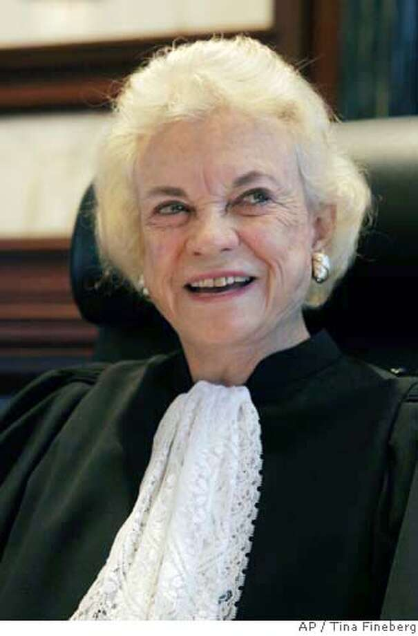 Former Supreme Court Justice Sandra Day O'Connor is seated before hearing cases on the 2nd U.S. Circuit Court of Appeals in New York, Wednesday, Oct. 11, 2006. O'Connor resigned from the Supreme Court on July 1, 2005. (AP Photo/Tina Fineberg) Photo: TINA FINEBERG