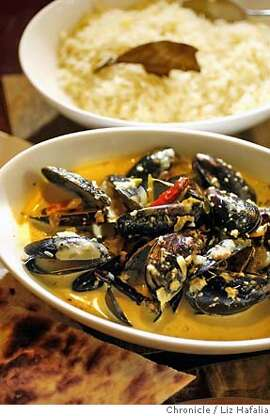 CHEFFAVE_BIST_30.jpg Chef Vijay Bist of Amber India shows his favorite recipe of mussels.  Photographed by Liz Hafalia