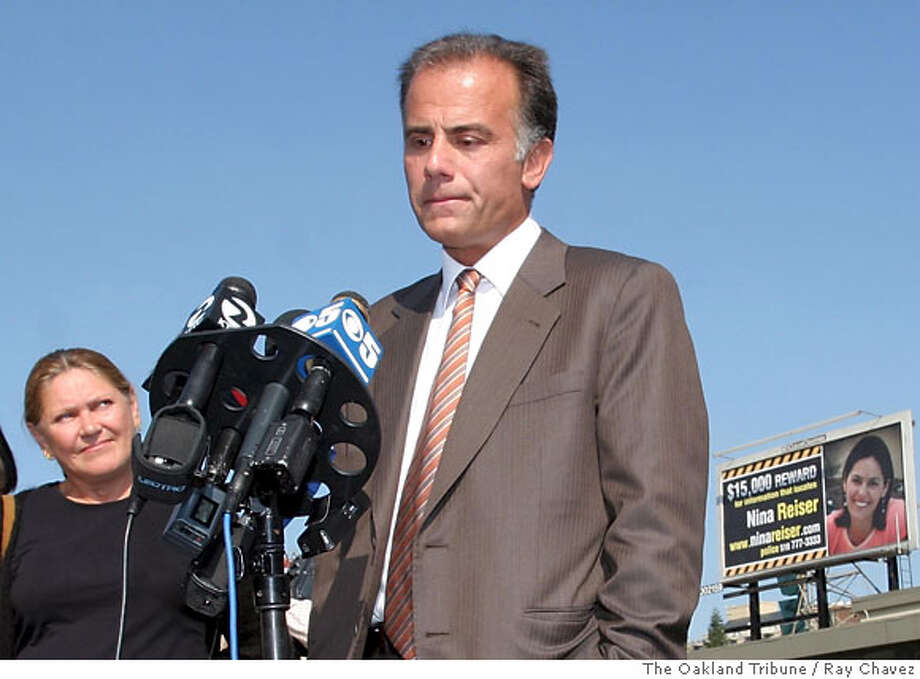 Anthony Zografos, pauses during a press conference for the unveiling of billboard for his girlfriend Nina Reiser as her mother Irina Sharnova looks on Wednesday morning, Oct. 11, 2006 in Oakland, Calif. Nina Reiser, 31, was last seen Sept. 3 dropping off her two children at her estranged husband's home in the Oakland hills. Hans Thomas Reiser was arrested on suspicion of murder in connection with her disappearance police said. (AP Photo/The Oakland Tribune, Ray Chavez) ** MAGS OUT ** Photo: RAY CHAVEZ