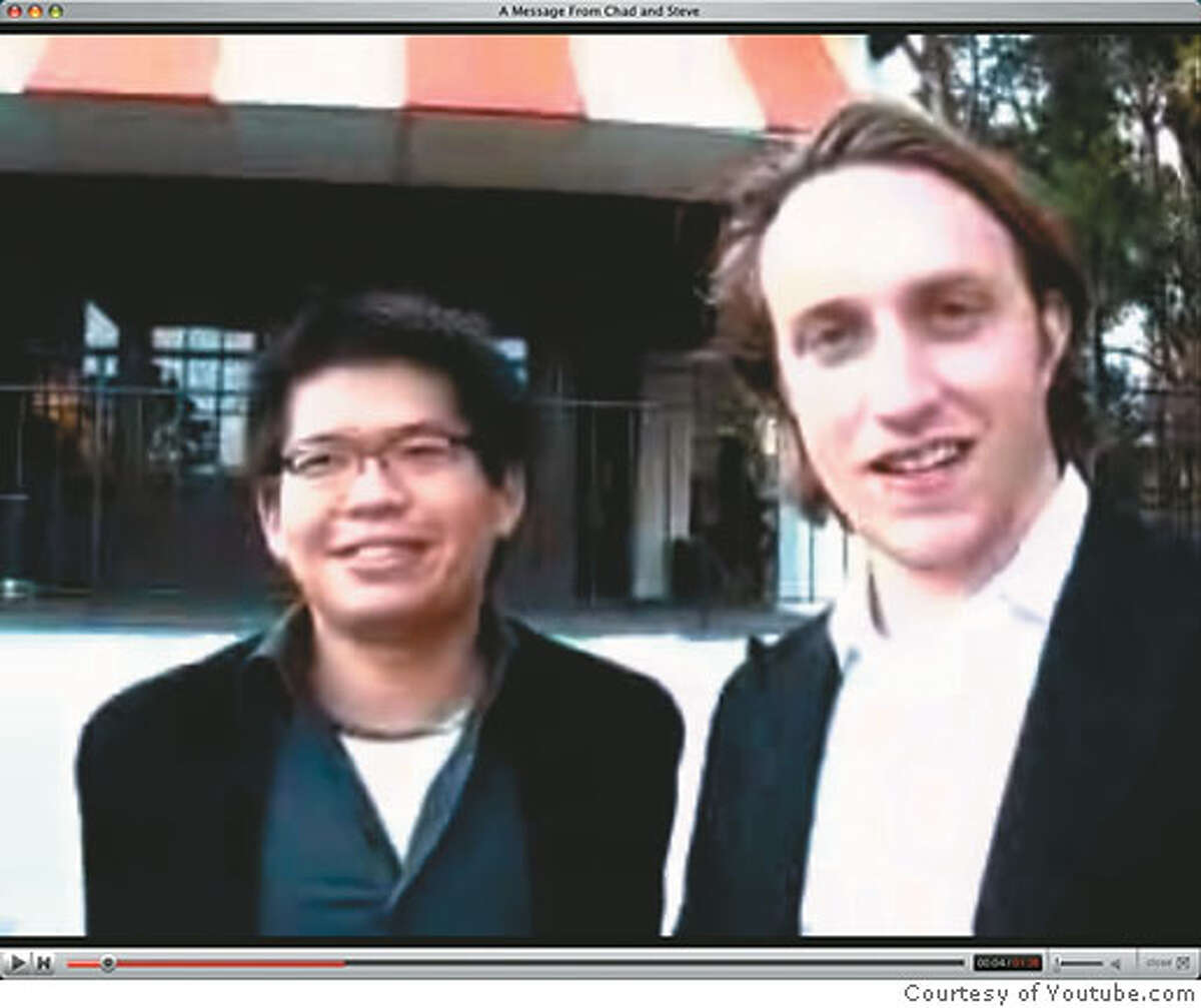 Co-founders Steve Chen and Chad Hurley posted an appropriately no-frills video on their Web site Monday explaining why they sold their company to Google. Image courtesy YouTube