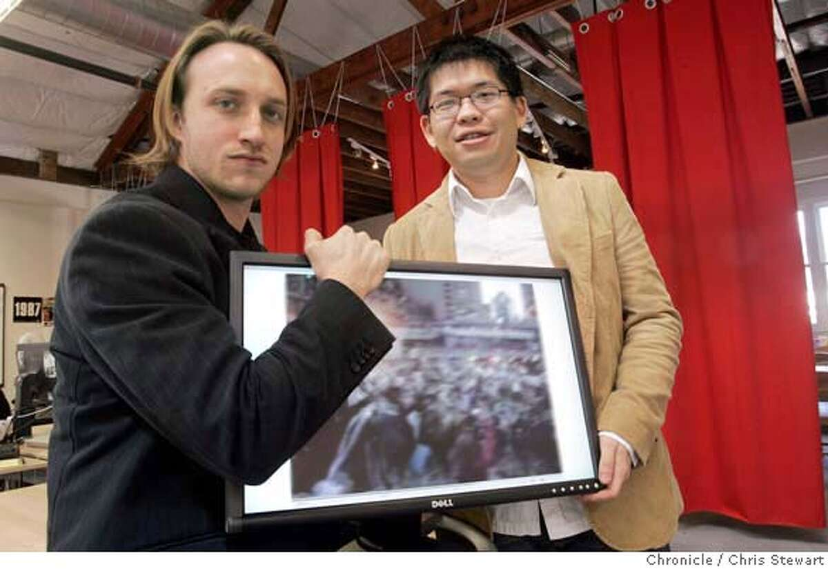 onlinevideoxx_014_cs.jpg Event on 3/7/06 in San Mateo. Chad Hurley (left), co-founder and CEO and Steve Chen, a co-founder and CTO of YouTube in San Mateo. Here, consumers post videos they've created themselves, as well as full episodes and clips of popular television shows. Chris Stewart / The Chronicle MANDATORY CREDIT FOR PHOTOG AND SF CHRONICLE/ -MAGS OUT