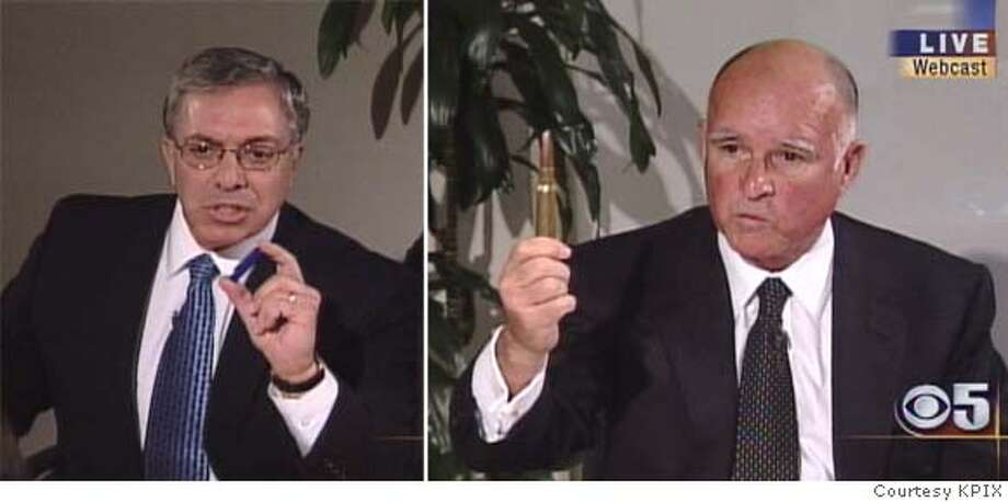 Oakland Mayor Jerry Brown, right, and Fresno Republican state Sen. Chuck Poochigian engaged in a lively debate Thursday. At one point Brown held up a .50 caliber bullet to illustrate Poochigian's opposition to a bill banning that ammunition. Video image courtesy KPIX