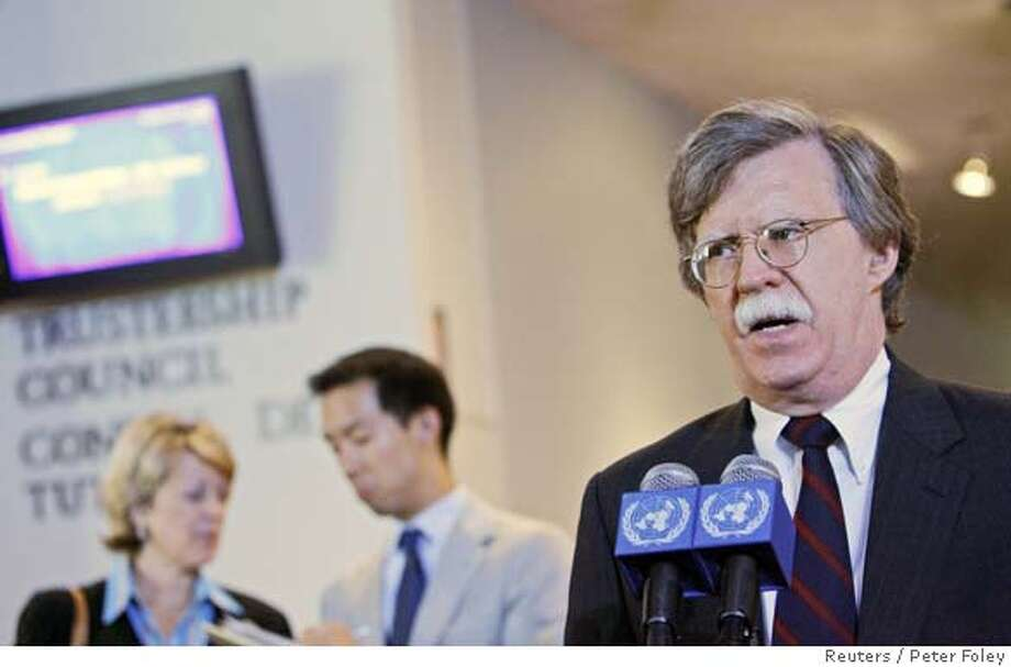 U.S. Ambassador to the United Nations John Bolton speaks to the media after a meeting of the permanent members of the security council at the United Nations in New York October 10, 2006. The meeting was to discuss possible sanctions against North Korea for its nuclear test. REUTERS/Peter Foley (UNITED STATES) 0 Photo: PETER FOLEY
