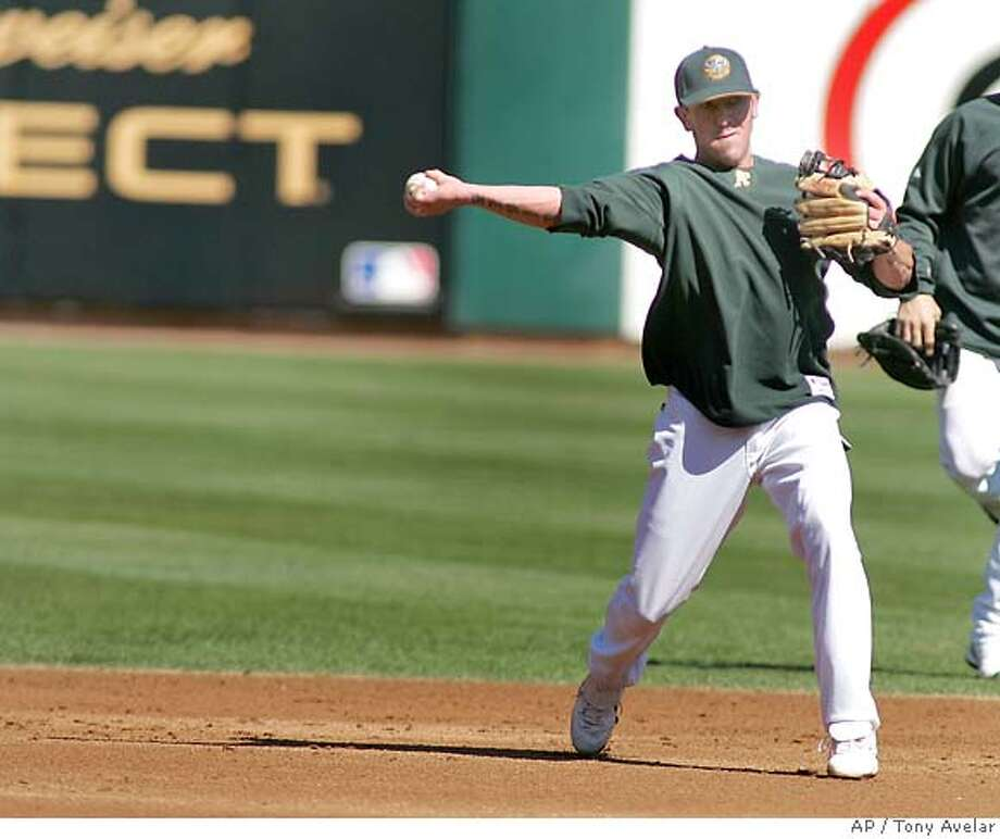 Mark Kiger, a minor leaguer infielder, practices with the Oakland Athletics for a backup spot on the ALCS roster on Sunday, Oct. 8, 2006 in Oakland, Calif. Oakland will open the best-of-seven ALCS at home Tuesday against the Detroit Tigers, who eliminated the New York Yankees. (AP Photo/ Tony Avelar) Photo: TONY AVELAR
