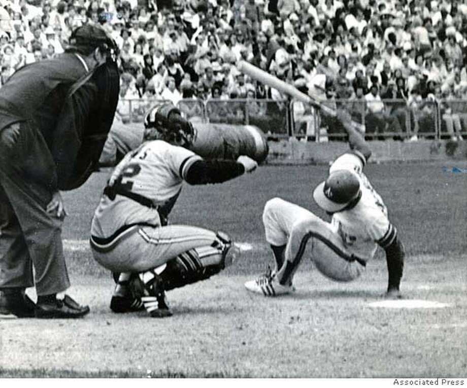 .jpg October 8, 1972 - Oakland A's batter Bert Campaneris goes down after being hit by a pitch thrown by Detroit Tigers pitcher Lerrin LaGrow during the seventh inning of Game 2 of the American League Championship Series on Oct. 8, 1972 at the Oakland Coliseum. Campaneris threw his bat at LaGrow and both players were ejected. PHOTO CREDIT: ASSOCIATED PRESS Photo: PHOTO CREDIT: