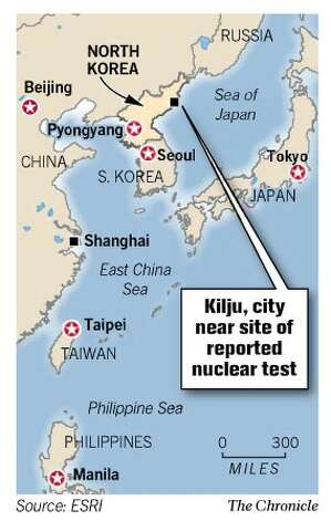 Kilju, city near site of reported nuclear test. Chronicle Graphic