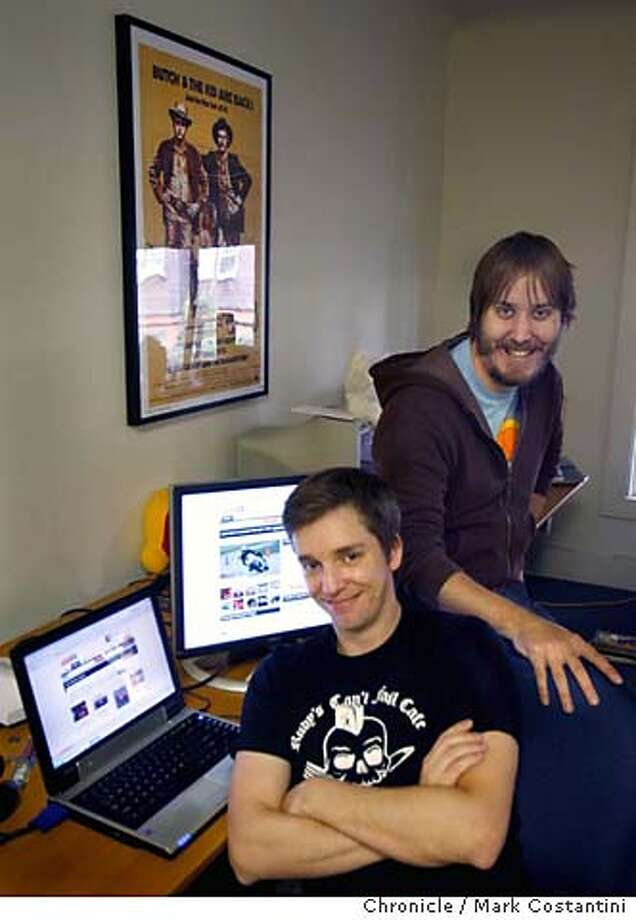 ETHAN LANCE(left) AND DAVE SNIDER IN THE OFFICES THE STARTUP CAR-ORIENTED WEBSITE, BOOMPA.COM. THEY LEFT CNET.COM TO START THIS VENTURE FOR PROFILE ON THEM AND BOOMPA FOR THE SUNDAY STYLE SECTION..  Event on 10/5/06 in BERKELEY, CA  Photo: Mark Costantini / San Francisco Chronicle. Photo: Xx