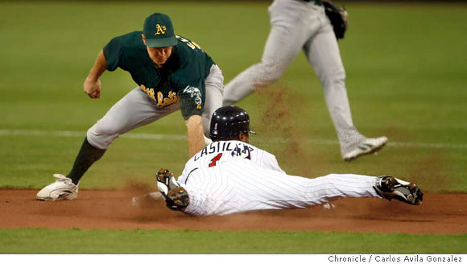 ATHLETICS-ALDS1_026_CAG.JPG  Athletics's second baseman, Mark Ellis, applies the tag to Luis Castillo on a steal attempt in the bottom of the first inning. Castillo out on the play. The Oakland Athletics played the Minnesota Twins in Game 1 of the American League Division Series at the Metrodome in Minneapolis, Mn., on Tuesday October 3, 2006. Photo by Carlos Avila Gonzalez/The San Francisco Chronicle  Photo taken on 10/3/06, in Minneapolis, Mn, USA  **All names cq (source)  Ran on: 10-08-2006  Game 3: Eric Chavez and Milton Bradley hug after Chavez's home run in the second inning. Both were hitless until their Game 3 homers. Photo: Carlos Avila Gonzalez