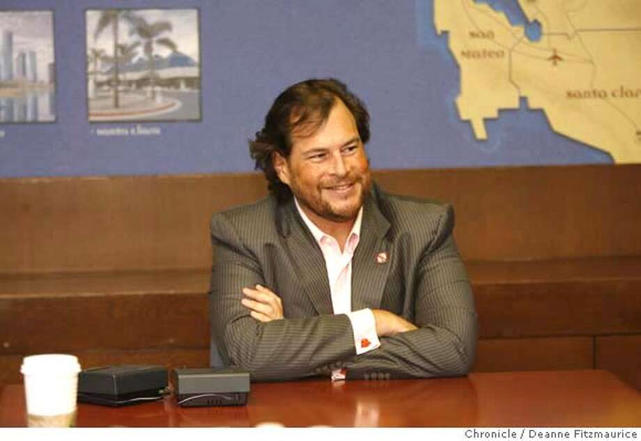 .jpg  Mark Benioff, CEO, salesforce.com. Q&A. Photographed in San Francisco on 10/3/06.  (Deanne Fitzmaurice/ The Chronicle) Mandatory credit for photographer and San Francisco Chronicle. /Magazines out. Photo: Deanne Fitzmaurice