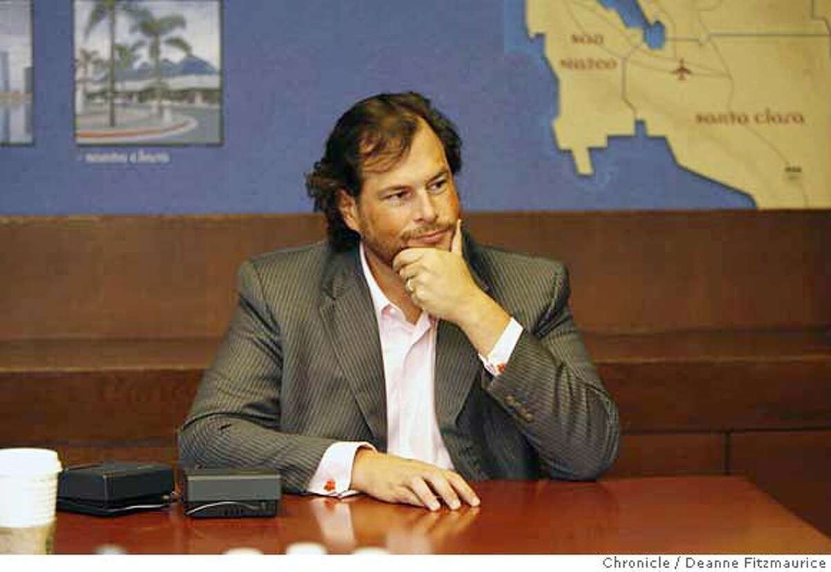 .jpg Mark Benioff, CEO, salesforce.com. Q&A. Photographed in San Francisco on 10/3/06. (Deanne Fitzmaurice/ The Chronicle) Mandatory credit for photographer and San Francisco Chronicle. /Magazines out.