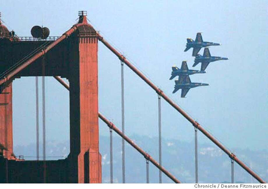 The Blue Angels fly over San Francisco and the Golden Gate Bridge for Fleet Week festivities. Photographed from Marin headlands in Marin County on 10/7/06.  (Deanne Fitzmaurice/ The Chronicle) Photo: Deanne Fitzmaurice