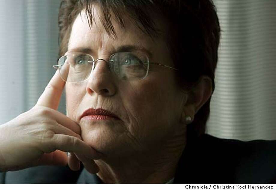 King interviewed at the hotel.Billie Jean King, the tennis legend, will be in town Thursday for an event with the GLBT Historical society, where she is getting an award. We are going to do an interview with her to run in the style section on Sunday, Oct. 8th. The story will be pegged around the interview and what she says, but most likely will focus on her role in history and the gay/lesbian community and her recent activities (including having the USTA Tennis Center in NYC named for her).(CHRISTINA KOCI HERNANDEZ/THE CHRONICLE) Mandatory Credit For Photographer and San Francisco Chronicle/No-Sales-Mags Out Photo: Christina Koci Hernandez