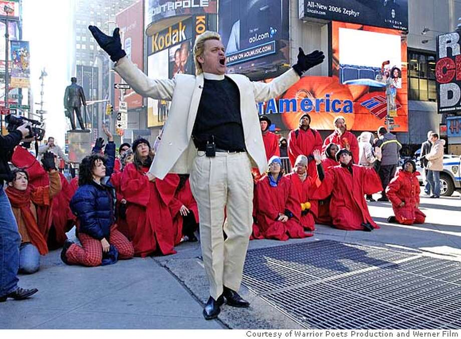 Reverend Billy preaching in Times Square.�  Courtesy of Warrior Poets Production and Werner Film.