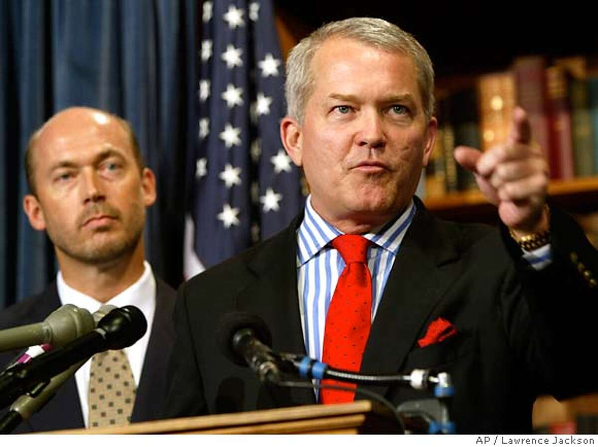 **FILE** Rep. Mark Foley, R-Fla., right, addresses the media with Rep. Jerry Weller, R-Ill., at the Capitol in this 2003 file photo in Washington. (AP Photo/Lawrence Jackson, FILE)
