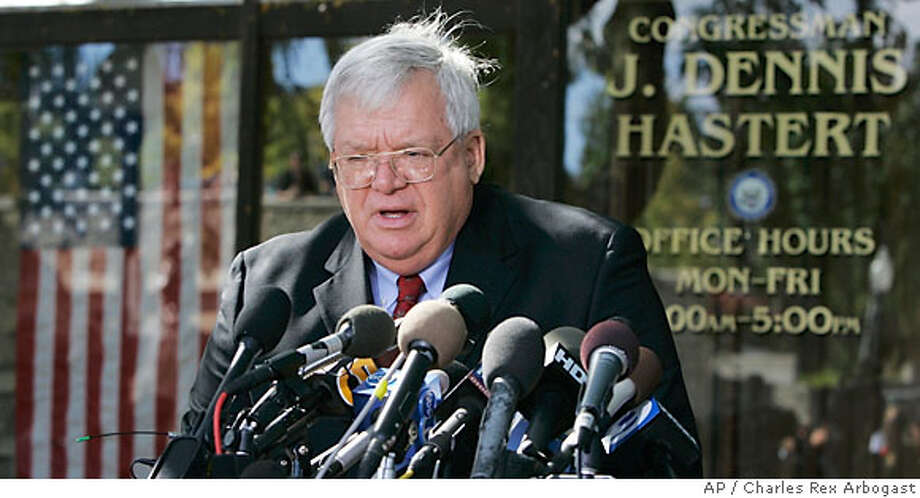 Speaker Dennis Hastert talks about the sex scandal involving congressional pages and former Rep. Mark Foley, R-Fla., during a news conference in Batavia, Illinois. Associated Press photo by Charles Rex Arbogast