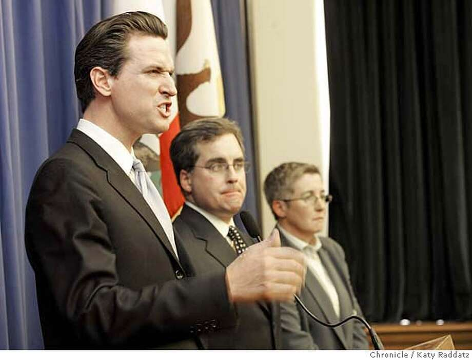 San Francisco Mayor Gavin Newsom, left, condemns the court's decision. Chronicle photo by Katy Raddatz