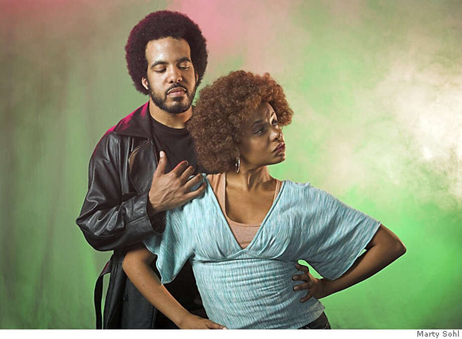 "Petruchio (David Moore) and�Katharina (Tonia Usher) in the African-American Shakespeare Company's production of ""The Taming of the Shrew."" Photo by Marty Sohl Photo: Marty Sohl"