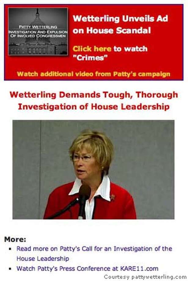Part of Minnesota candidate Patty Wetterling's homepage, pattywetterling.com. WEB GRAB Courtesy pattywetterling.com. Photo: Ho