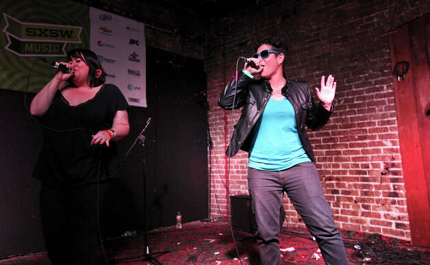 She (left) and God-Des perform at The Jr. during South by Southwest on March 16, 2012, in Austin. Photo: EDWARD A. ORNELAS, Edward A. Ornelas/Express-News / © SAN ANTONIO EXPRESS-NEWS (NFS)