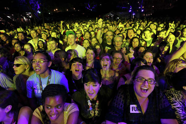 Fans cheer for the band Fun from New York, NY, at Stubb's during South by Southwest on March 16, 2012, in Austin. Photo: EDWARD A. ORNELAS, Edward A. Ornelas/Express-News / © SAN ANTONIO EXPRESS-NEWS (NFS)