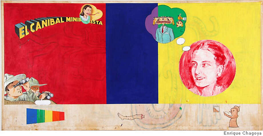 Enrique Chagoya, Adventures of a Minimalist Cannibal (2006) Acrylic, water based oil and ink on canvas 48 x 96 in. Credit: Frey Norris Gallery Photo: Frey Norris Gallery