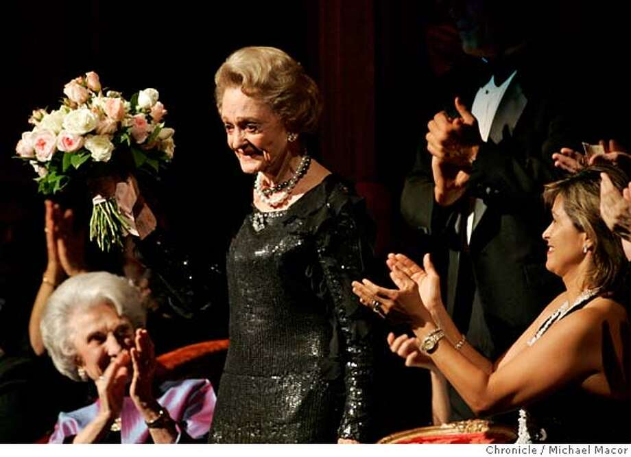 opera04_028_mac.jpg Jeannik Mequet Littlefield is honored, her close friend Violet Taaffe, (left) and her daughter-in- law, Sandy Littlefield, (right). Jeannik Mequet Littlefield, 89, is giving 35 million dollars to the SF Opera, the largest single gift by an individual to any US opera company. tonight, Opera general director David Gockley will announce the gift before the opening curtain and will present Mrs. Littlefield with a bouquet of flowers in her box before the start of this evenings performance. Event in, San Francisco, Ca, on 10/3/06. Photo by: Michael Macor/ San Francisco Chronicle Photo: Michael Macor