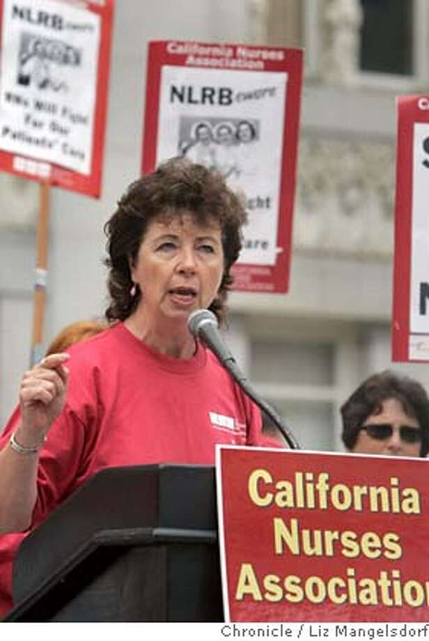 nurses256_lm.JPG  The Executive director of the California Nurses Association Rose Ann DeMoro, speachs at a protest in downtown Oakland on July 11, 2006 of an expected ruling by the National labor Relations board. Liz Mangelsdorf /The Chronicle  ***Rose Ann DeMoro(from reporter George Raines) MANDATORY CREDIT FOR PHOTOG AND SF CHRONICLE/ -MAGS OUT Photo: Liz Mangelsdorf